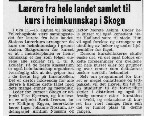 Bildet viser en artikkel fra Levanger-avisa i forbindelse med at heimkunnskapskurset i 1975 var lagt til Skogn.